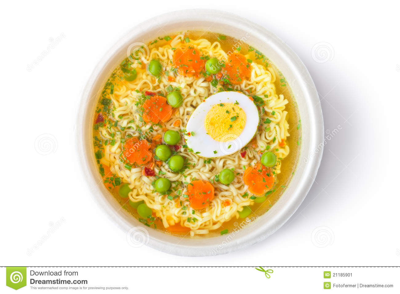 Cup Of Instant Noodles With Vegetables Stock Image   Image  21185901