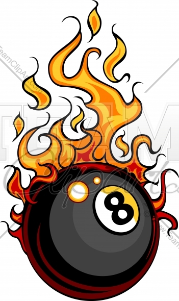 Flaming Eight Ball Billiards Vector Clipart Image   Team Clipart  Com