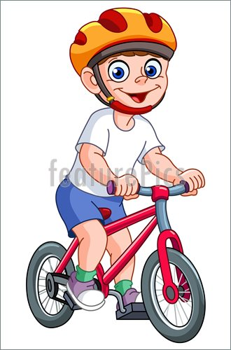 Illustration Of Kid On Bicycle    Cute Kid Riding His Bicycle