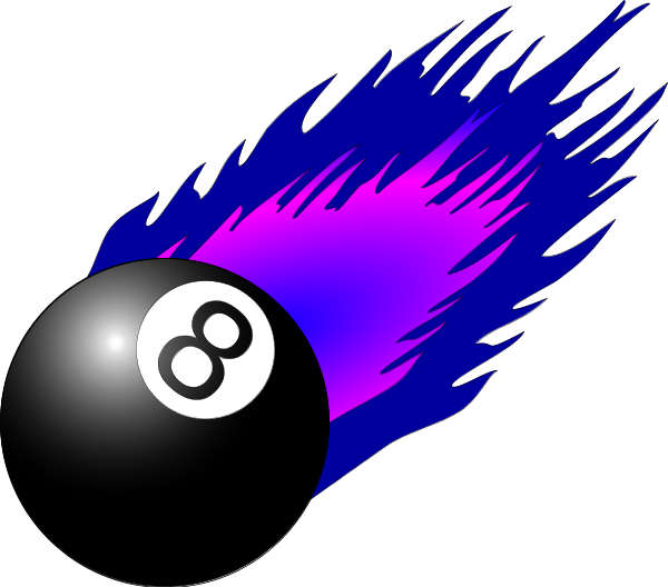 Pool 8 Eight Ball Flame Flaming Fire V3 Vector Clip Art