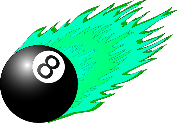 Pool 8 Eight Ball Flame Flaming Fire Vector Clip Art