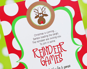Reindeer Games Invitation Printable   Christmas Party Invitation