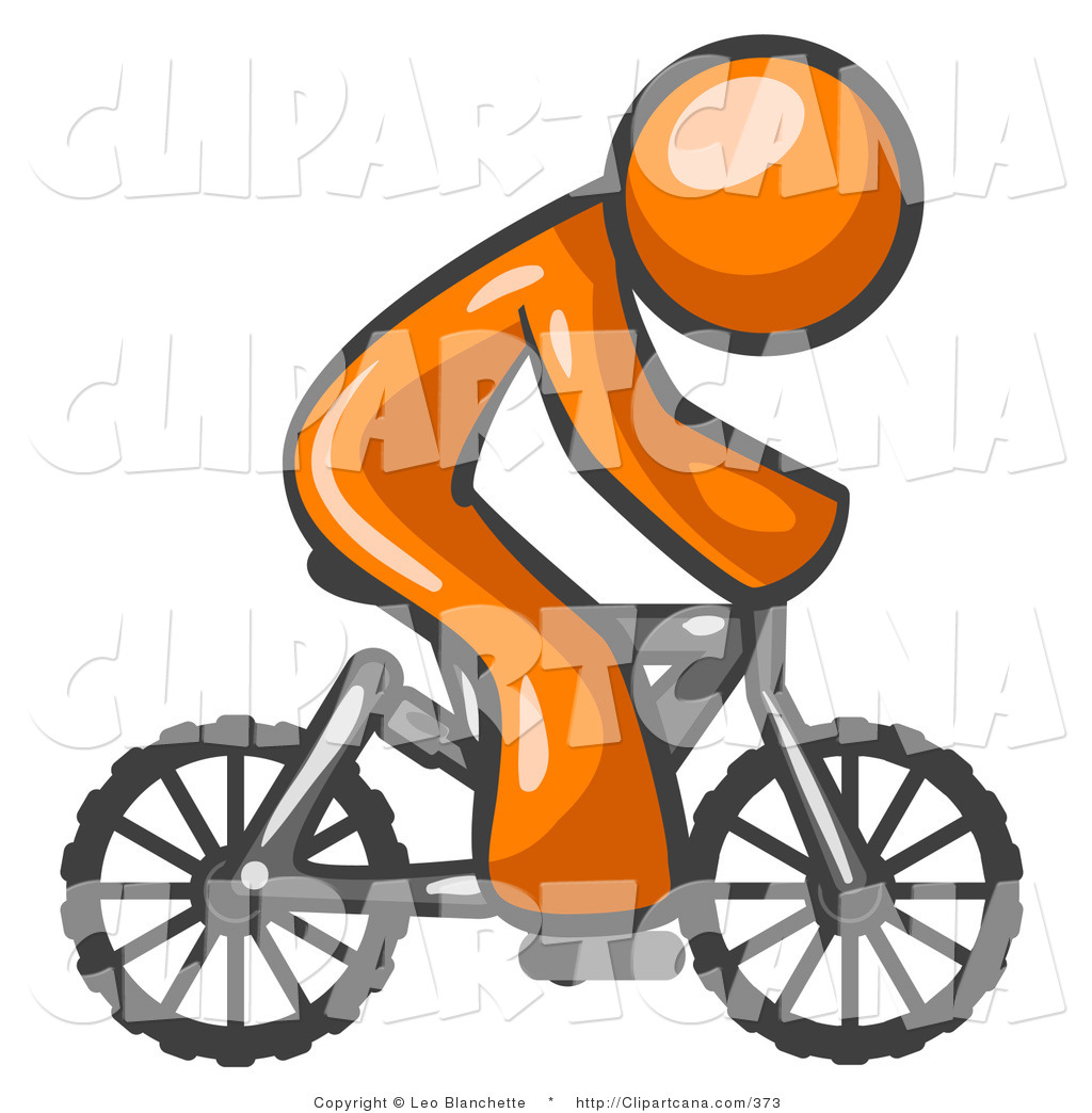 Vector Clip Art Of An Orange Man Riding A Bicycle To The Right By Leo