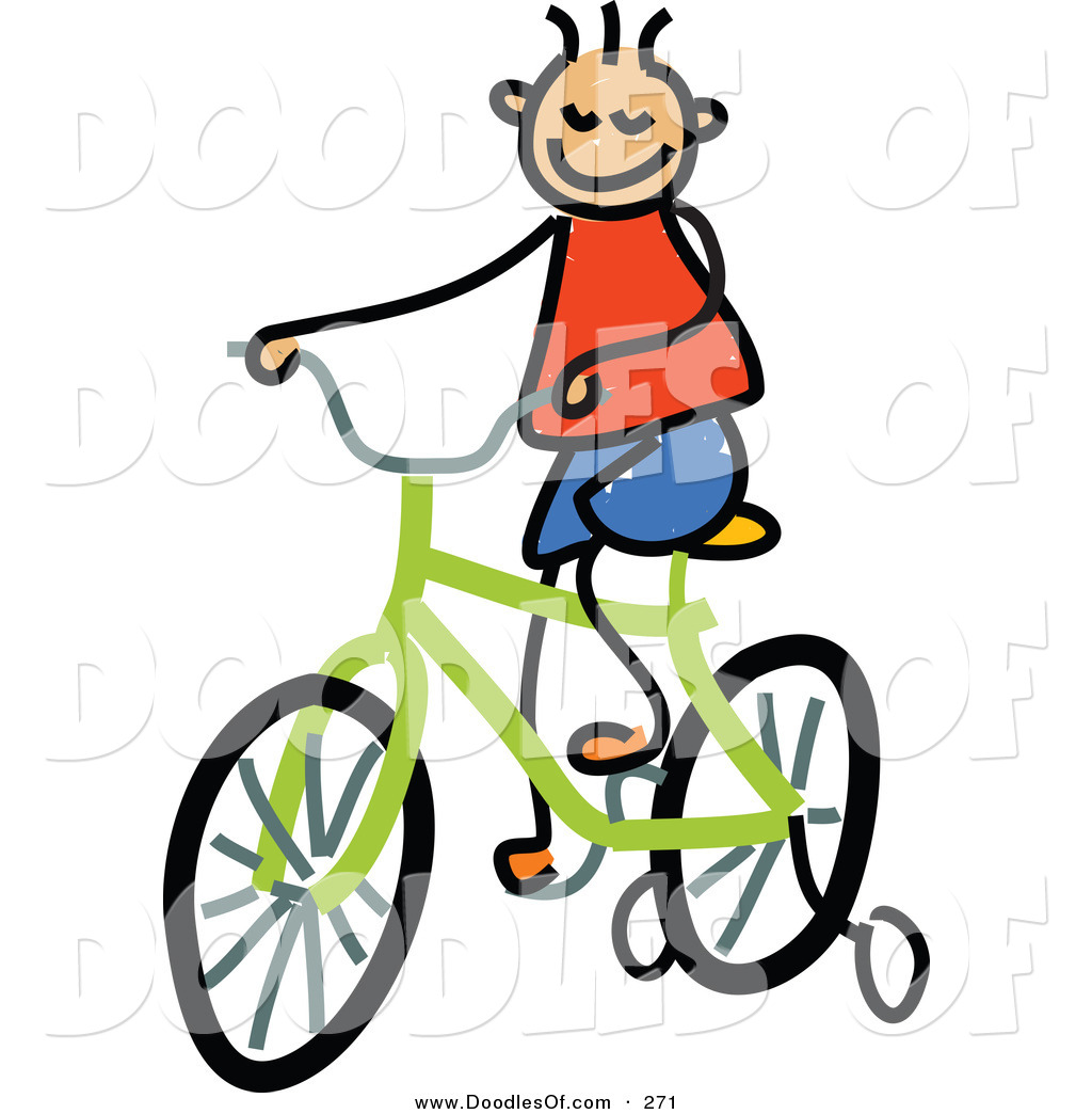 Vector Clipart Of A Childs Sketch Of A Happy Boy Riding A Bike By