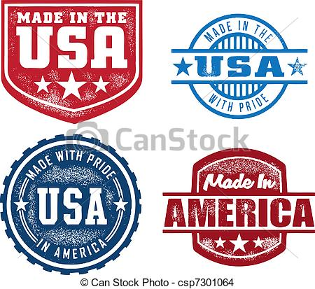 Vector   Made In Usa Vintage Stamps   Stock Illustration Royalty Free