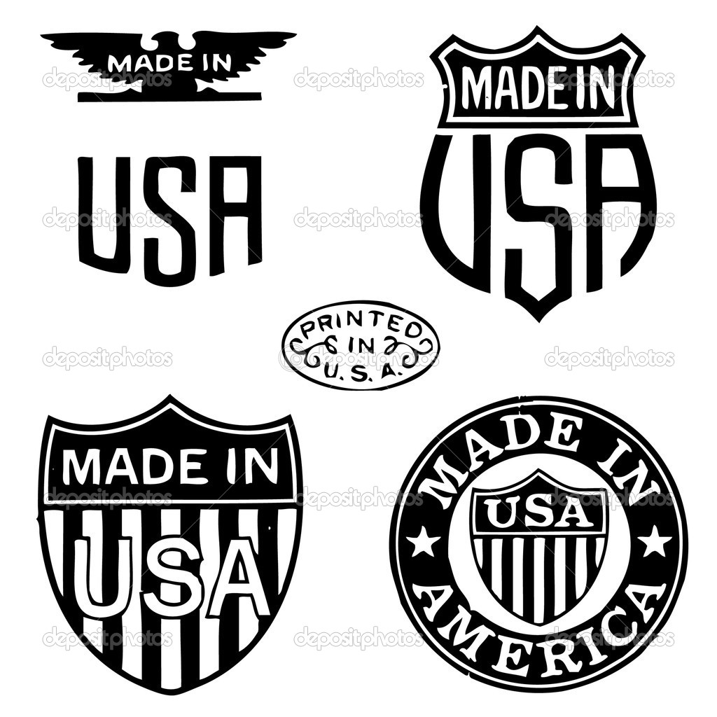 Vector Retro Clipart Made In The Usa Stamps   Stock Vector