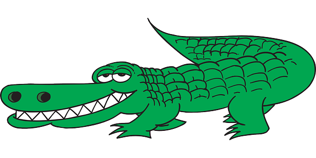 View Cartoon Side Tail Teeth Grinning Alligator   Public Domain