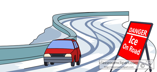 Weather   Car Driving On Icy Road   Classroom Clipart