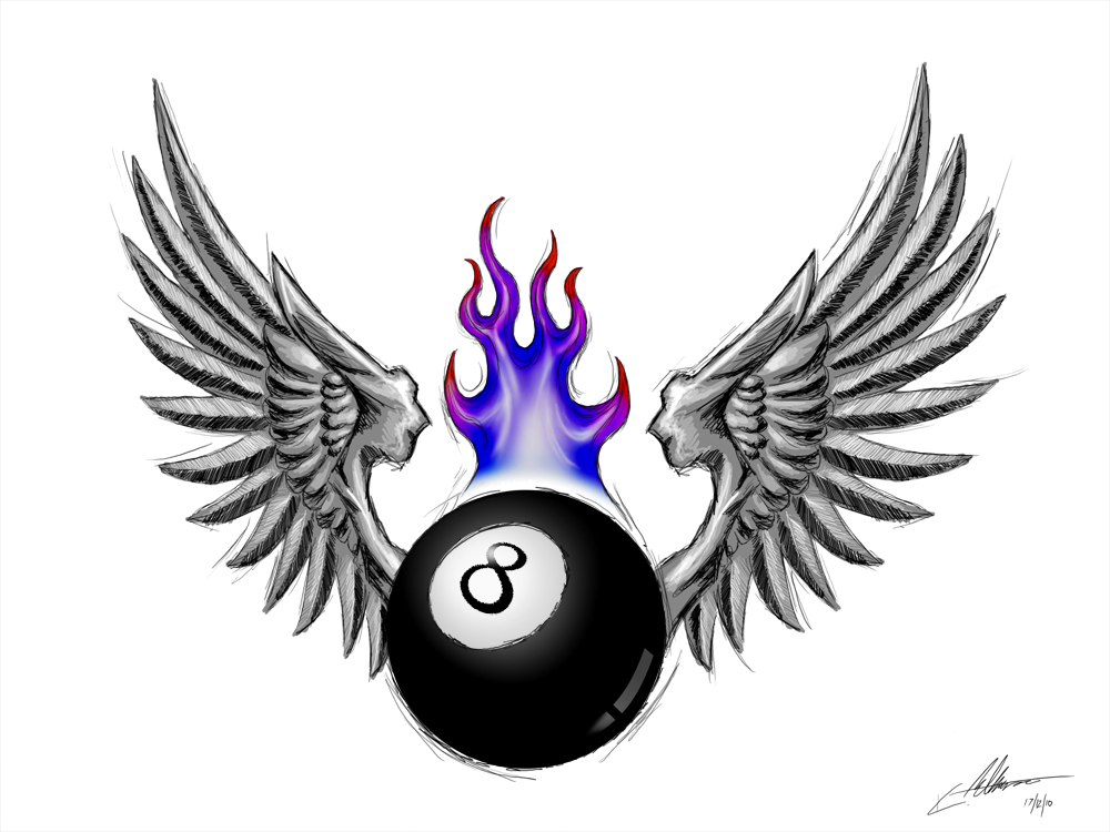 Winged Flaming 8 Ball Tattoo Design Pictures