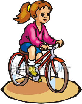 Young Girl Riding A Bicycle   Royalty Free Clipart Image