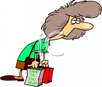 0316 4955 Cartoon Of A Woman Exhausted From Shopping Clipart Image