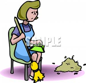 An Exhausted Woman Cleaning   Royalty Free Clipart Picture