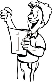 And White Cartoon Of Boy Giving A Speech  Royalty Free Clipart Image