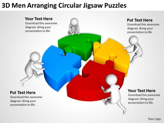 Business People Clip Art Circular Jigsaw Puzzles Powerpoint Templates
