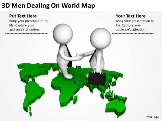 Business People Clipart 3d Men Dealing On World Map Powerpoint