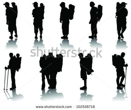 Children In Baby Backpack Silhouettes With Shadow Vector   Stock