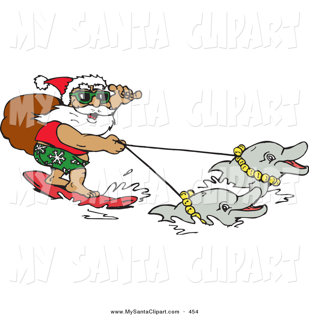 Christmas Clip Art Of A Smiling Summer Santa Carrying His Sack While