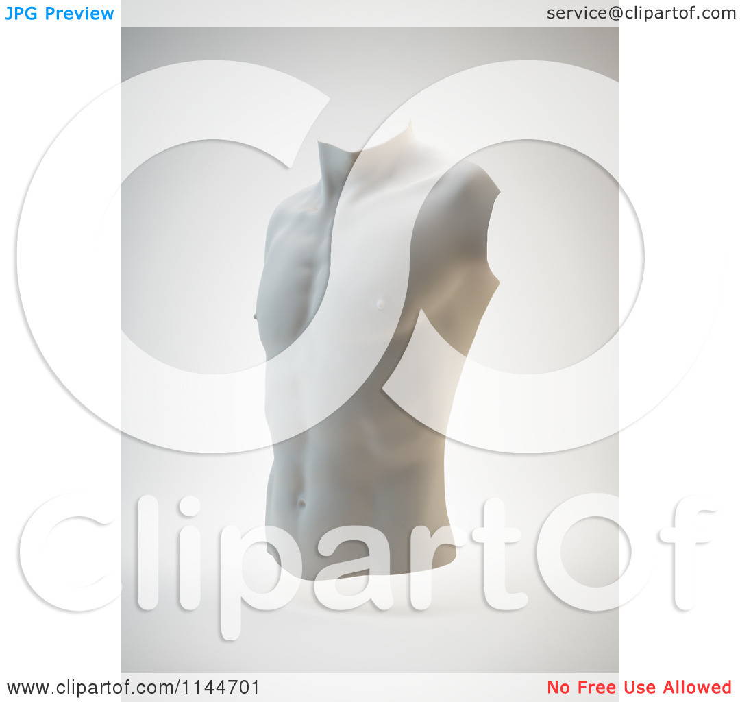 Clipart Of A 3d Male Torso Statue Bust   Royalty Free Cgi Illustration