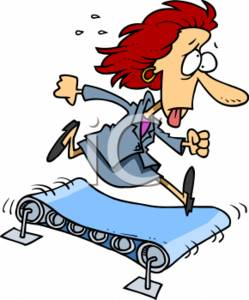 Clipart Of A Exhausted Businesswoman Running On A Treadmill