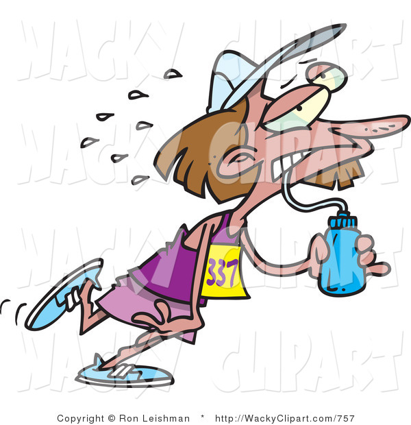 Clipart Of An Exhausted Brunette Female Marathon Runner Drinking Water