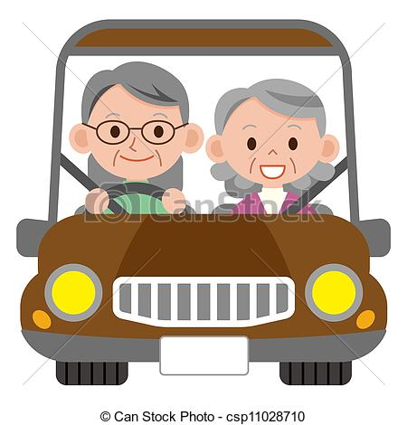 Clipart Of Happy Smiling Senior Married Couple In A Car Csp11028710