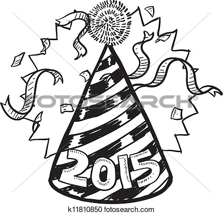 Doodle Style New Year S Eve Celebration Sketch Including Party Hat