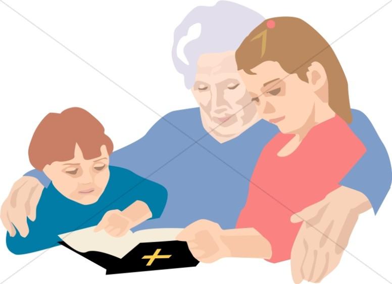 Grandchildren Reading Bible