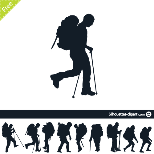 Hiker Silhouette Silhouettes Clipart