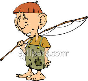 Hillbilly Boy Going Fishing   Royalty Free Clipart Picture