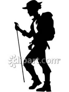 Silhouette Of A Female Hiker Royalty Free Clipart Picture