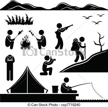Vector   Jungle Trekking Hiking Camping Camp   Stock Illustration