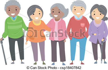 Vector Of Stickman Senior Citizens   Illustration Of A Group Of Senior