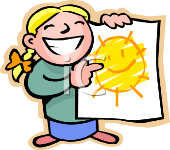 1003 0801 Proud Girl Holding Up The Sun Picture She Drew Clipart Image