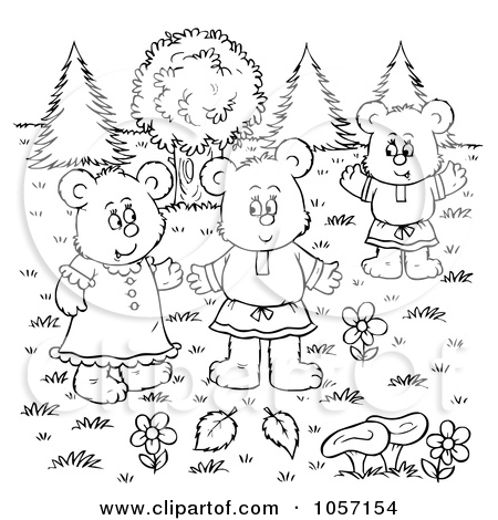 Art Illustration Of A Coloring Page Outline Of A Bear Family Outside