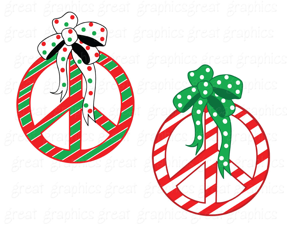 Clip Art Christmas Digital Printable Christmas Peace Sign Clip Art