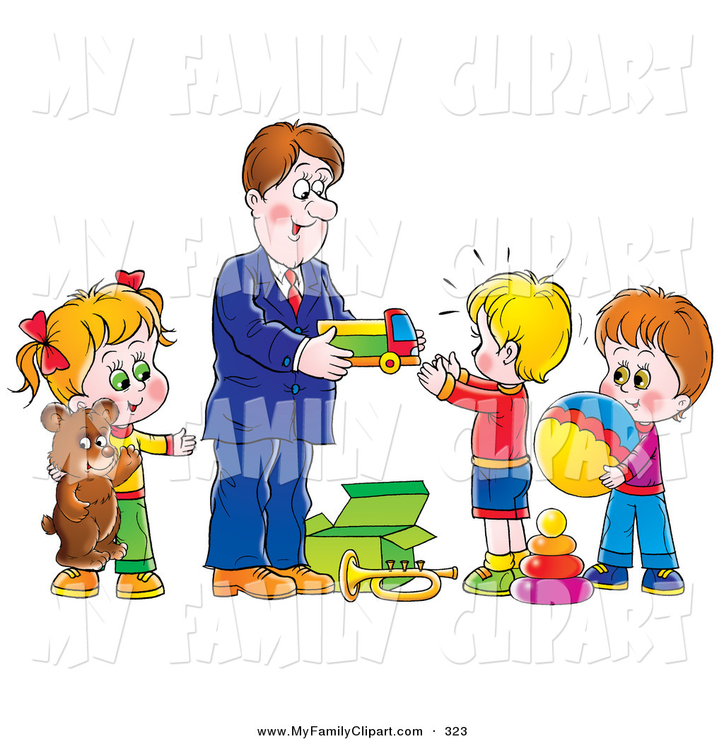 Clip Art Of A Father Giving Toys And Gifts To His Children On White By