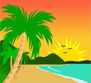 Clipart Image   Tropical Island Sunset With Palms Trees And Beach