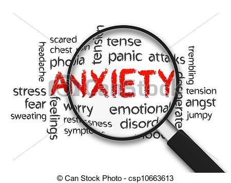 Clipart Of Anxiety   Magnified Anxiety Word Illustration On White