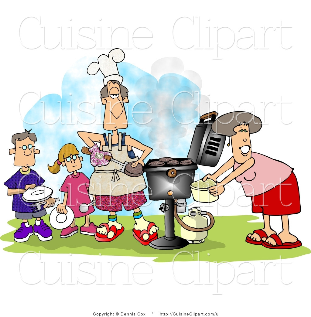 Cuisine Vector Clipart Of A Family Cooking At A Barbeque By Djart    6