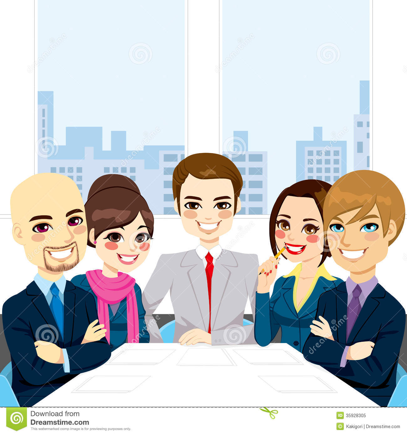 Five Businesspeople At Office Smiling Together Happy Sitting Around
