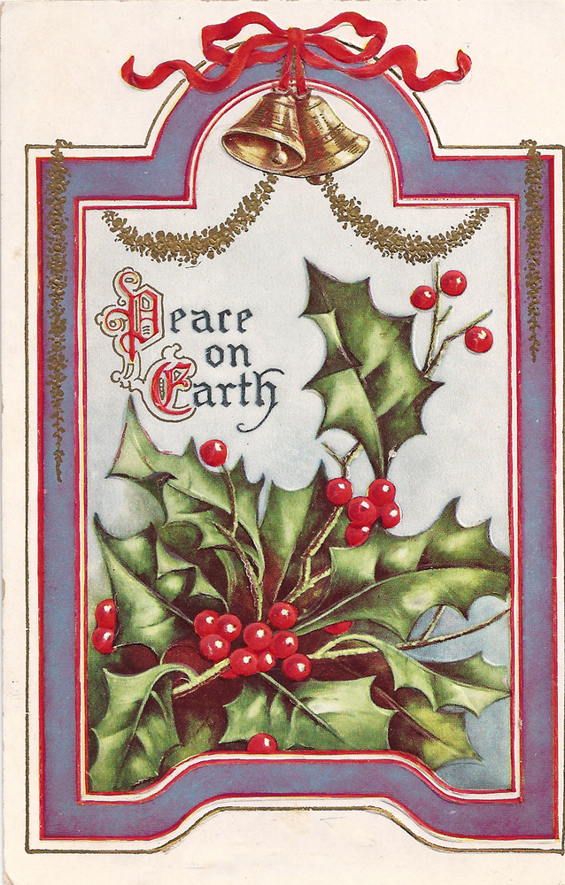 Frog Designs  Peace On Earth Free Vintage Christmas Postcard Clip Art
