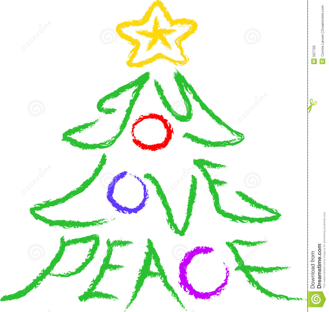 Illustration Of A Christmas Tree With The Words Joy Love And Peace