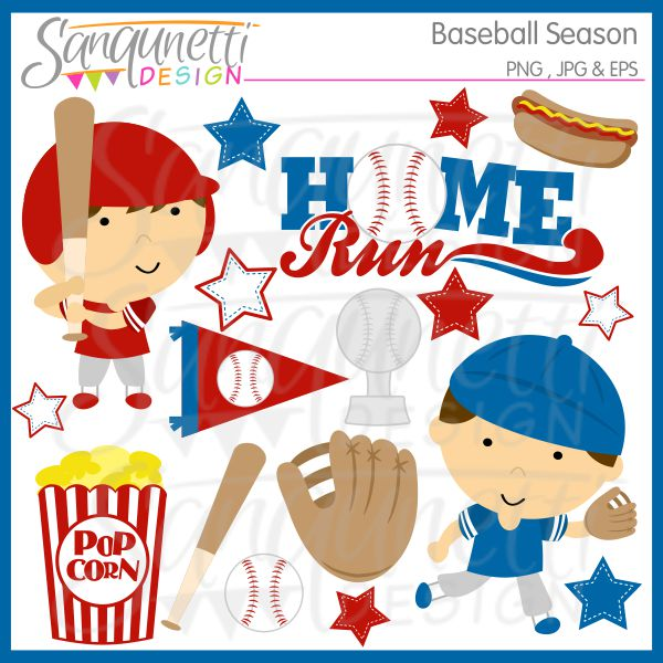 New Baseball Season Clipart And Paper   Sanqunetti Design