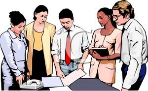 Office Staff Having A Meeting   Royalty Free Clipart Picture