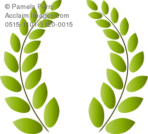 Clip Art Image Of A Greek Style Wreath Of Olive Branches   Acclaim