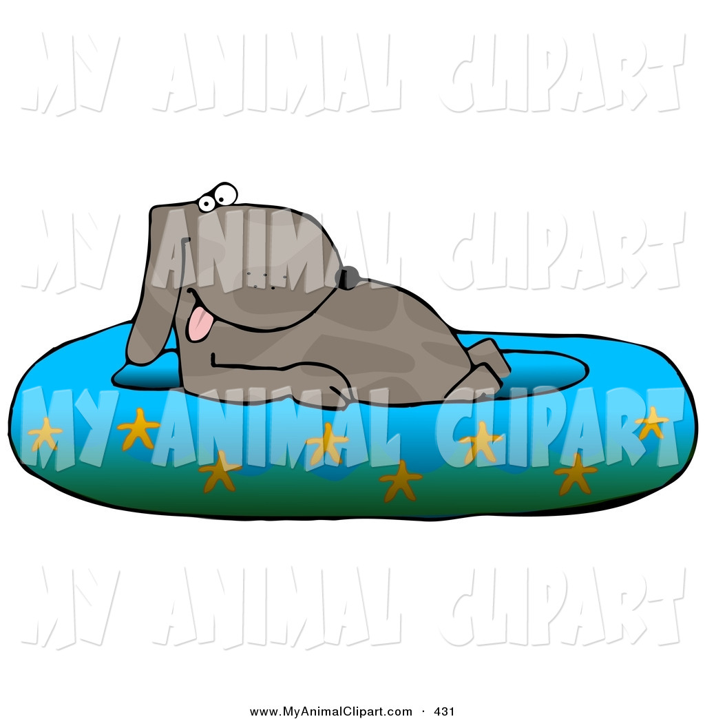 Clip Art Of A Happy Brown Pet Dog Soaking In A Kiddie Pool Decorated