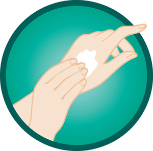 Clipart Image  Clip Art Illustration Of A Pair Of Hands Putting Lotion