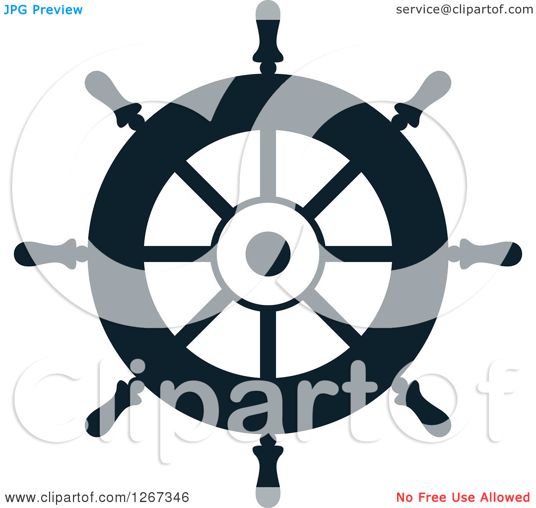 Clipart Of A Navy Blue Ship Helm Steering Wheel   Royalty Free Vector