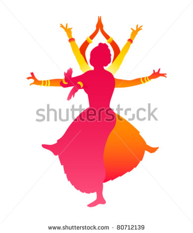 Colorful Classic Indian Female Dance Bharatanatyam   Stock Vector