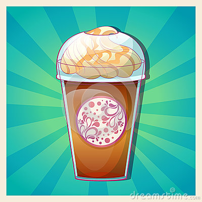 Delicious Cold Caramel Frappe Ice Cream Colorful C Royalty Free Stock